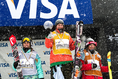 FIS Overall podium (l-) Maddie Bowman (USA), Devin Logan (USA) and Amy Sheehan (AUS)  Halfpipe 2014 Visa Freeskiing Grand Prix at Breckenridge, Colorado Photo: Sarah Brunson/U.S. Freeskiing
