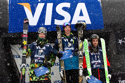 Men's podium (l-r): Mike Riddle (CAN), David Wise (USA) and Kevin Rolland (FRA) Halfpipe 2014 Visa Freeskiing Grand Prix at Breckenridge, Colorado Photo: Sarah Brunson/U.S. Freeskiing
