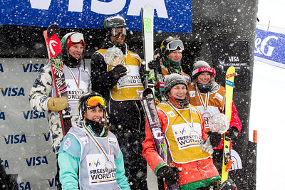 FIS Overall podium Back row: (l-) Aaron Blunck (USA), Justin Dorey (CAN) and Mike Riddle (CAN) Front row: (l-r) (l-) Maddie Bowman (USA), Devin Logan (USA) and Amy Sheehan (AUS)  Halfpipe 2014 Visa Freeskiing Grand Prix at Breckenridge, Colorado Photo: Sarah Brunson/U.S. Freeskiing
