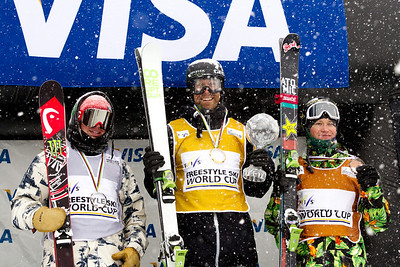 FIS Overall podium (l-) Aaron Blunck (USA), Justin Dorey (CAN) and Mike Riddle (CAN) Halfpipe 2014 Visa Freeskiing Grand Prix at Breckenridge, Colorado Photo: Sarah Brunson/U.S. Freeskiing