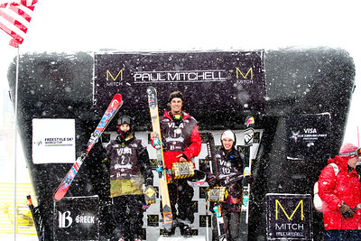 Men's slopestyle podium (l-r): Jesper Tjader (SWE), Bobby Brown (USA) and Kai Mahler (SUI) 2014 Visa Freeskiing FIS World Cup in Breckenridge, CO. Photo: Sarah Brunson/U.S. Freeskiing