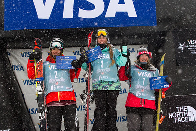 Women's podium (l-r): Ayana Onozuka (JPN). Maddie Bowman (USA) and Amy Sheehan (AUS) Halfpipe 2014 Visa Freeskiing Grand Prix at Breckenridge, Colorado Photo: Sarah Brunson/U.S. Freeskiing