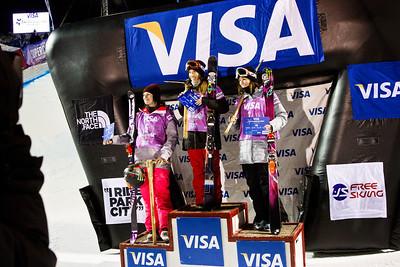 Women's podium: Devin Logan (3rd), Angeli VanLaanen (1st) and Brita Sigourney (2nd) Halfpipe finals - Saturday 2014 Visa Freeskiing Grand Prix in Park City, Utah Photo: Sarah Brunson/U.S. Freeskiing