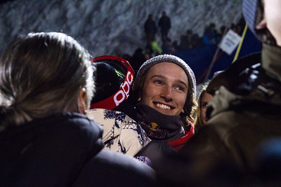 Torin Yater-Wallace hugs and congratulates Aaron  Blunck Halfpipe finals - Saturday 2014 Visa Freeskiing Grand Prix in Park City, Utah Photo: Sarah Brunson/U.S. Freeskiing