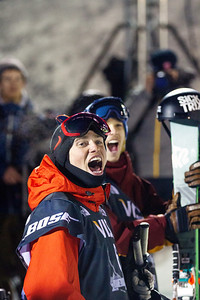 Gus Kenworthy and Lyman Currier react in excitement as Aaron Blunck completes his run. Halfpipe finals - Saturday 2014 Visa Freeskiing Grand Prix in Park City, UT Photo: Sarah Brunson/U.S. Freeskiing