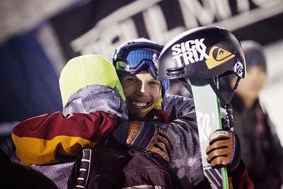 Lyman Currier and his father  Halfpipe finals 2014 Visa Freeskiing Grand Prix in Park City, Utah Photo: Sarah Brunson/U.S. Freeskiing