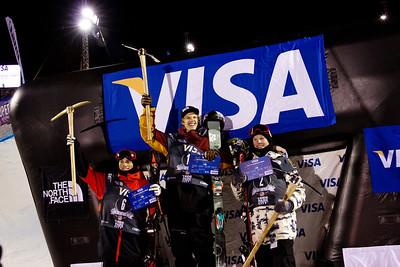Men's podium: Gus Kenworthy (3rd), Lyman Currier (1st) and Aaron Blunck (2nd) Halfpipe finals - Saturday 2014 Visa Freeskiing Grand Prix in Park City, Utah Photo: Sarah Brunson/U.S. Freeskiing