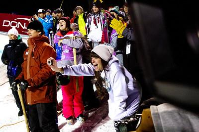 Devin Logan and Keri Herman cheer on their fellow male Teammates who made the podium Halfpipe finals - Saturday 2014 Visa Freeskiing Grand Prix in Park City, UT Photo: Sarah Brunson/U.S. Freeskiing