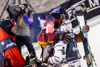 Gus Kenworthy, Lyman Currier and Aaron Blunck celebrate in the finish Halfpipe finals - Saturday 2014 Visa Freeskiing Grand Prix in Park City, UT Photo: Sarah Brunson/U.S. Freeskiing