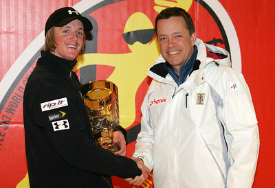 Scott Bahrke (left) of the United States is presented with the FIS World Cup aerials rookie of the year trophy by Chris Robinson at the Freestyle FIS World Championships in Madonna di Campiglio, Italy, Thursday, Mar. 8, 2007 Photo by Mike Ridewood