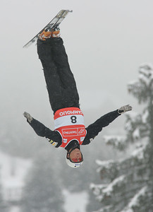 Ryan St. Onge jumps in aerials training at the Freestyle FIS World Championships in Madonna di Campiglio, Italy, Wednesday, Mar. 7, 2007. (credit Mike Ridewood/FIS)