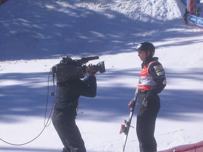 Emily Cook stops for television during aerials qualifications on Friday, March 9, 2007 (credit: Doug Haney/U.S. Ski Team)