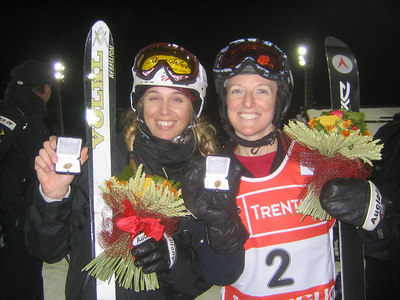 Shelly Robertson (left) and Shannon Bahrke show off their bling after finishing sixth and fourth respectively in moguls at the World Championships  (credit: Doug Haney/U.S. Ski Team)