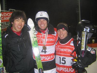(l-r) Sho Kashima, Nate Roberts (bronze medalist) and Dave DiGravio after men's finals (credit: Doug Haney/U.S. Ski Team)