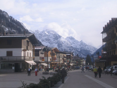 Main street in North Madonna di Campiglio (credit: Doug Haney/U.S. Ski Team)