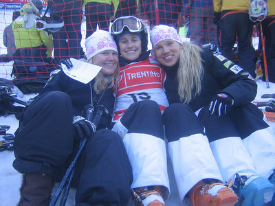 (l-r) McKenzy Golding, Heather McPhie and Jillian Vogtli hang out after women's moguls qualifiers (credit: Doug Haney/U.S. Ski Team)