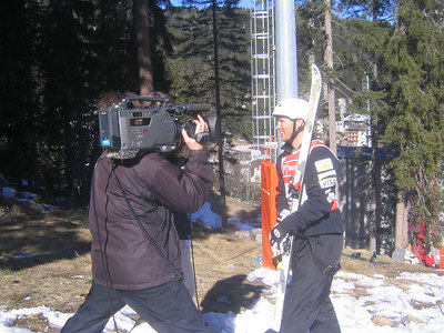 Jeret 'Speedy' Peterson doing a television interview after qualifying for aerials finals (credit: Doug Haney/U.S. Ski Team)