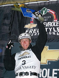 Jeret 'Speedy' Peterson took the World Cup aerial lead with his second straight victory, uncorking another Hurricane to win the Chevrolet Freestyle International. (U.S. Ski Team photo by Tom Kelly)
