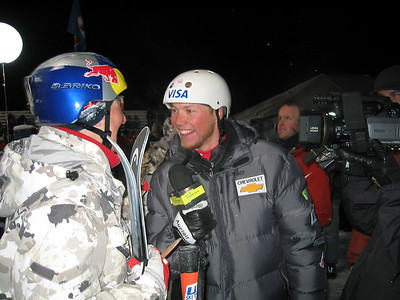 Ryan St. Onge interviews aerials World Cup winner Evelyne Leu (SUI) for Sprint PowerVision at the Chevrolet Freestyle International (U.S. Ski Team by J. Fritz)