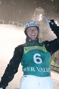 U.S. Ski Team aerialist Jeret 'Speedy' Peterson was number one after landing his patented 'Hurricane' jump in a raging blizzard at Deer Valley Resort to pickup his first World Cup win in two years and set a new record score of 268.70.