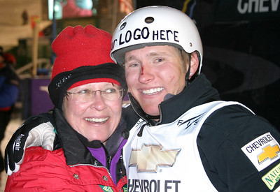 Jeret 'Speedy' Peterson celebrates with mom Linda Peterson after his second straight aerial win, uncorking the hurricane at the Chevrolet Freestyle International at Deer Valley Resort. U.S. Ski Team photo by Tom Kelly
