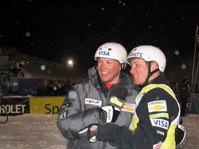 Ryan St. Onge interviews aerials World Cup winner Jeret Peterson (Boise, ID) for Sprint PowerVision at the Chevrolet Freestyle International (U.S. Ski Team by J. Fritz)
