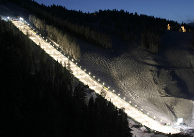 Deer Valley Resort's Champion ski run is under the lights for the finals of the Chevrolet Freestyle International. (U.S. Ski Team photo by Tom Kelly)