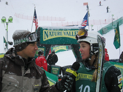 Freestyle's famed Jonny Moseley interviews Shelly Robertson (Reno, NV) for Sprint PowerVision at the Nature Valley Freestyle Challenge (U.S. Ski Team by J. Fritz)