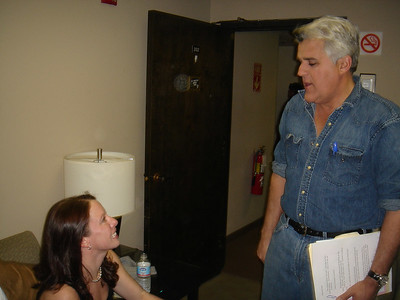 Jay Leno greets Emily Cook in the Green Room before the show.
