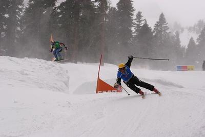 Ski Cross event at Kirkwood Mountain Resort:  Front: Tyler Shepherd, U.S. Ski Cross Head Coach Back: Eric Archer, head Canadian Ski Cross Coach Credit Eben Wight