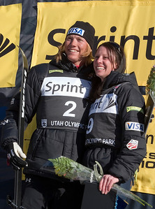 Champions Ryan St. Onge and Emily Cook, Aerial Awards, Town Lift Plaza, Sprint U.S. Freestyle Championships, aerials, Utah Olympic Park. Photo: Tom Kelly/U.S. Ski Team