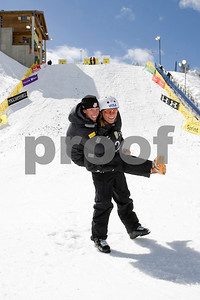 Emily Cook and Ryan St Onge celebrate their victories in aerials at the U.S. Freestyle National Championships. Photo © Don Cook