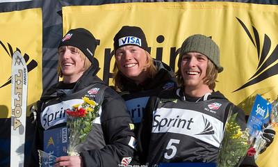 Men's Aerial Awards, (l-r) Scotty Bahrke (2), Ryan St. Onge (1), Matt DePeters (3), Town Lift Plaza, Sprint U.S. Freestyle Championships, aerials, Utah Olympic Park. Photo: Tom Kelly/U.S. Ski Team