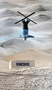 Shannon Bahrke in World Cup moguls at Olympic test event at Cypress Mountain, BC. (U.S. Ski Team - Tom Kelly)