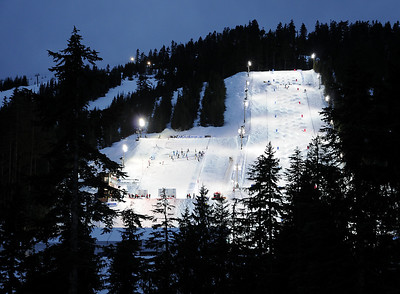 Aerials (left) and moguls venues at the Olympic test event at Cypress Mountain, BC. (U.S. Ski Team - Tom Kelly)