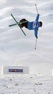 Sho Kashima soars off a jump at the World Cup moguls at Olympic test event at Cypress Mountain, BC. (U.S. Ski Team - Tom Kelly)