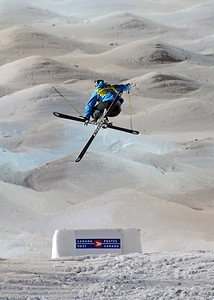 Hannah Kearney throws a heli-mute-grab on her bottom air at the World Cup moguls at Olympic test event at Cypress Mountain, BC. (U.S. Ski Team - Tom Kelly)
