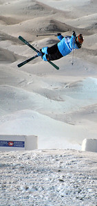 Sho Kashima twists through a 1080 in World Cup moguls at Olympic test event at Cypress Mountain, BC. (U.S. Ski Team - Tom Kelly)