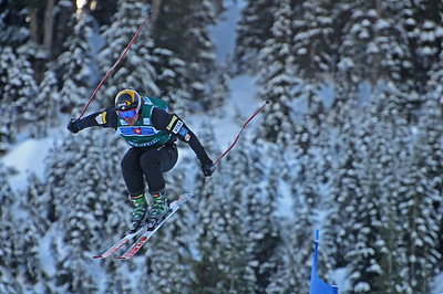 Casey Puckett soars off a jump at the Ski Cross World Cup at Cypress Mountain Olympic test event. (U.S. Ski Team-Tom Kelly)