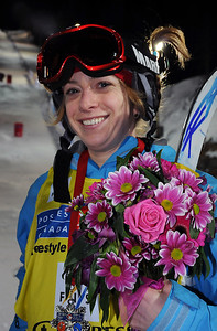 Hannah Kearney smiles after holding the World Cup standings lead after finishing second in the World Cup moguls at the Olympic test event at Cypress Mountain, BC. (U.S. Ski Team - Tom Kelly)