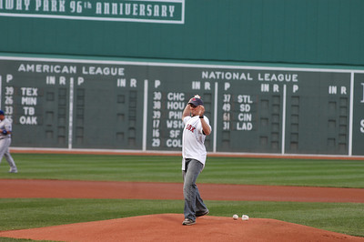 2008 Michael Morse Throws First Pitch at Red Sox Game