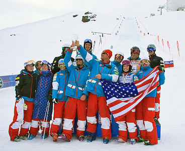 The U.S. Freestyle  Ski Team moguls skiers hoist the crystal globe after winning the season-long Nation's Cup at the final FIS Freestyle World Cup in Sierra Nevada, Spain. (FIS)