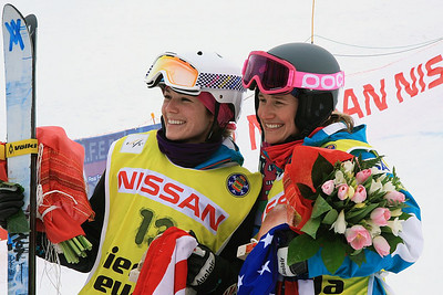 The U.S. Ski Team's Eliza Outtrim (left) won her first World Cup with teammate Heather McPhie third as the FIS Freestyle World Cup wrapped up in Sierra Nevada, Spain. (FIS)