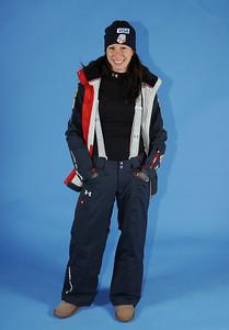 Emily Cook models the 2010-11 Under Armour Freestyle Uniform warm-up jacket. Photo: Tom Kelly/U.S. Ski Team