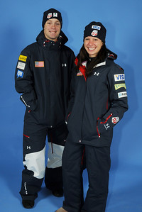 Bryon Wilson and Emily Cook model the 2010-11 Under Armour Freestyle Uniform warm-up jacket. Photo: Tom Kelly/U.S. Ski Team