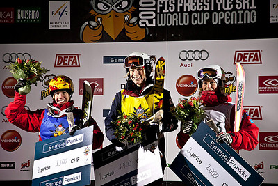 Hannah Kearney stands atop the podium after winning the season moguls opener in Ruka, Finland. Canada's Jenn Heil was second and Kristi Richards third. Photo: Harald Marbler/U.S. Ski Team