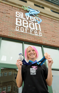 Olympic medalist Shannon Bahrke opens here new flagship coffee ship as a part of her Silver Bean Coffee in Salt Lake City, Utah. (c) 2010 USSA
