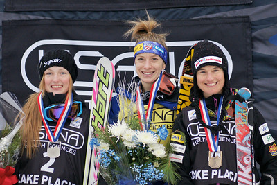 Hannah Kearney wins Ladies Moguls. (l-r) Justine Dufour-LaPointe (CAN) 2nd place, Hannah Kearney (USA) 1st place, Nikola Sudova (CZE) 3rd place. 2012 USANA Lake Placid Freestyle Cup Photo: Harald Marbler and Garth Hager