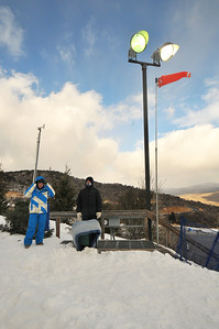 The wind sock was full on tailwind as athletes waited for the start of the U.S. Ski Team Selections NorAm aerials at Utah Olympic Park in Park City, Utah. (USSA/Tom Kelly)