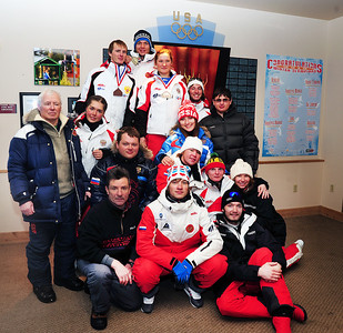 Russian Freestyle Aerials team poses for a photograph after the season-opening NorAm at the Utah Olympic Park.